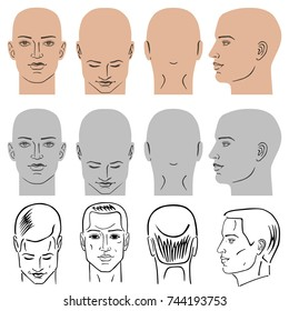 Man hairstyle head set (front, back, side views), vector illustration isolated on white background