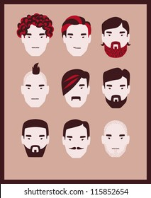 man hairstyle icon set vector eps 10