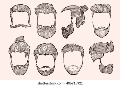 Man Hairstyle Set Handdrawn Sketches Vector Stock Vector Royalty