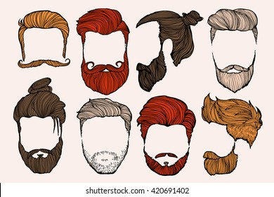 Man hairstyle. Set of hand-drawn sketches. Vector Illustration.
