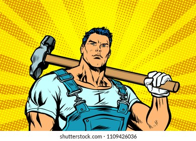Man with a hammer. Pop art retro vector illustration kitsch vintage drawing