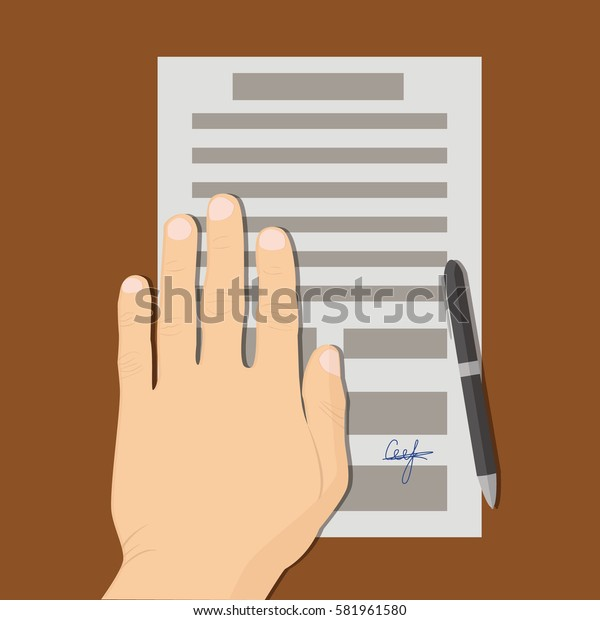Man hand and document. Flat vector stock illustration