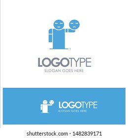 Man, Hand, Emojis, Healthcare Blue Solid Logo with place for tagline