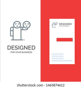 Man, Hand, Emojis, Healthcare Grey Logo Design and Business Card Template. Vector Icon Template background