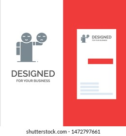Man, Hand, Emojis, Healthcare Grey Logo Design and Business Card Template