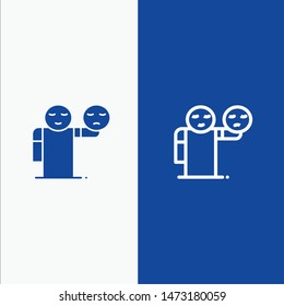 Man, Hand, Emojis, Healthcare Line and Glyph Solid icon Blue banner Line and Glyph Solid icon Blue banner