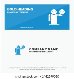 Man, Hand, Emojis, Healthcare SOlid Icon Website Banner and Business Logo Template