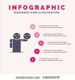 Man, Hand, Emojis, Healthcare Solid Icon Infographics 5 Steps Presentation Background