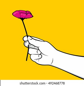 Man hand giving flower
