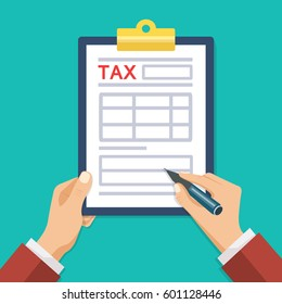 Man hand hold tax form and hand hold pen. Man with clipboard. Vector illustration. Flat style. Modern concept for web banners, web sites, infographics.