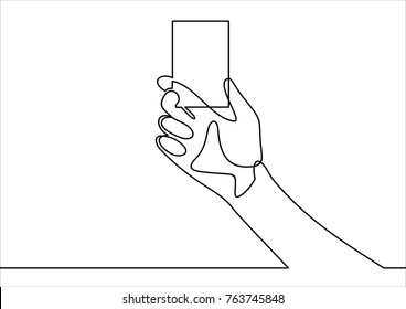 Man hand holding a blank card vector illustration- continuous line drawing