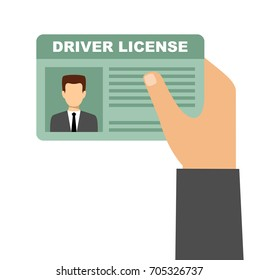 Man hand holding car driving license. Vector