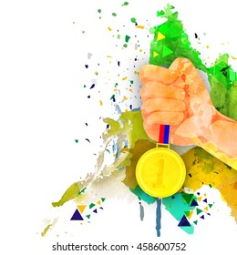 Man Hand holding Gold Medal on abstract background, Vector illustration for Brazil Summer Games, Can be used as Poster, Banner or Flyer design.