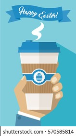 Man Hand Holding Holiday Take Away Paper Coffee Cup - Happy Easter Flyer Poster - Simple Flat Design Vector Illustration