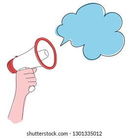 Man hand holding megaphone announcement with cloud in color. Hand Drawn Skech Cartoon Vector.