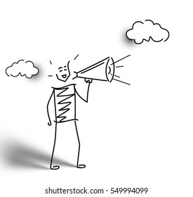 Man hand holding megaphone announcement with cloud. Hand Drawn Skech Cartoon Vector Background.