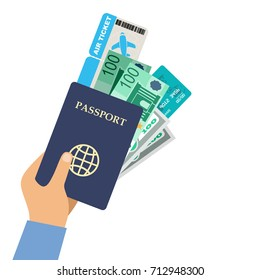 Man hand holding passport, air ticket and money. Vector illustration