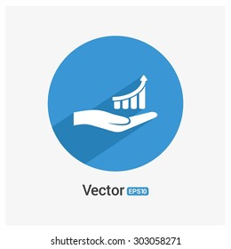 Man hand holding Progress chart icon - Vector Illustration