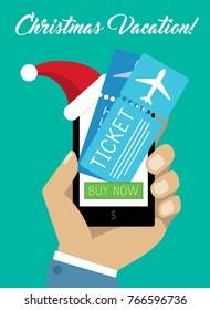 Man Hand Holding Smartphone in Christmas Hat. New Year Present Gadget. Businessman Buying Plane Tickets Online, Modern Customer Shops on Internet Vector Art Design Illustration.