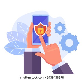 Man hand holding smartphone with login password interface website and pushing fingerprint button. Online security id biometric identification concept. Vector design graphic flat cartoon isolated