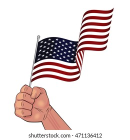 Man hand holding waving USA flag in fist illustration isolated on white background.