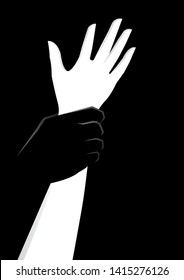 man hand holding a woman hand vector illustration. try to rape. violence against women. sexual harassment concept