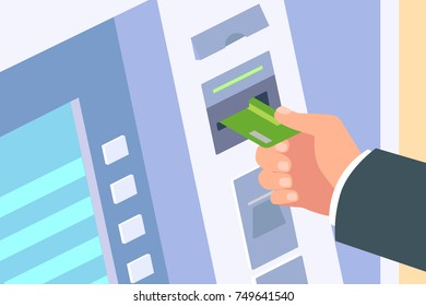 Man hand inserting credit card in the ATM. Vector illustration