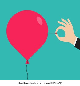 Man hand with a needle pierces the red balloon. Business concept. vector illustration