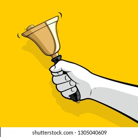 Man hand ringing small bell