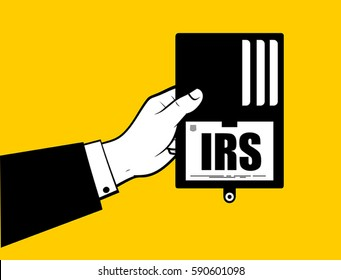 Man hand showing IRS ID