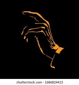 Man hand silhouette in backlight. Vector. Illustration.