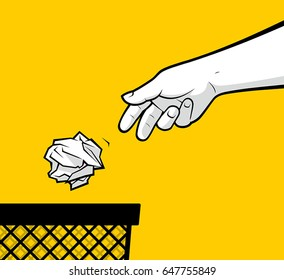 Man hand throwing crumpled paper in basket