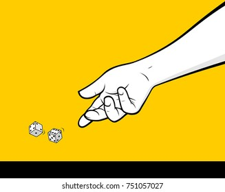 Man hand throwing dice