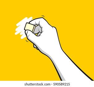 Man hand using eraser