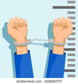 Man in handcuffs. Detention of of the criminal. Stock vector cartoon illustration.