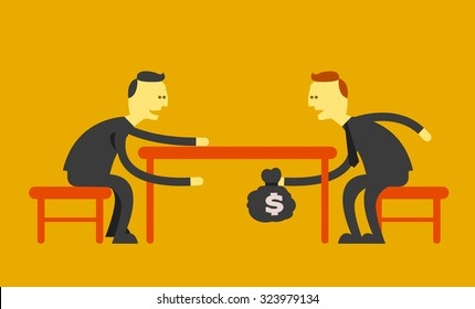 Man handing money under the table . business corruption concept