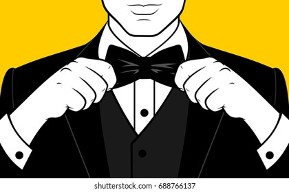 Man hands adjusting bow tie
