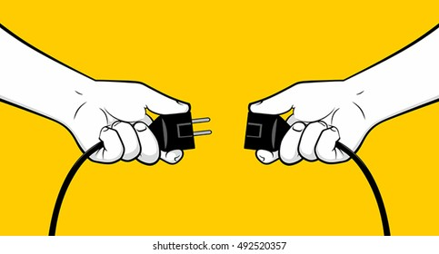 Man hands connecting electrical plug