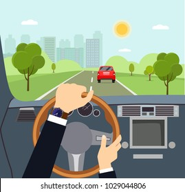Man hands of a driver on steering wheel of a car. Vector flat style illustration