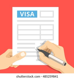 Man hands filling out visa application. Modern concept for web sites, web banners, printed materials, infographics. Creative flat design vector illustration