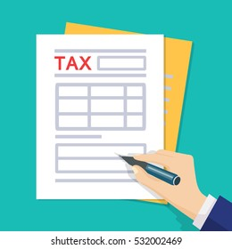 Man hands filling tax form. Tax form isolated on blue background. Vector illustration. Flat style. Modern concept for web banners, web sites, infographics.