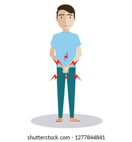 man with hands holding his crotch and need to pee or bladder problem, sick man prostate cancer, prostate inflammation, premature ejaculation, fertility