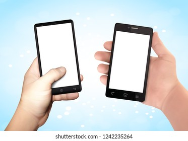 Man hands holding smartphone. Sending message template. Wireless communication concept. Realistic vector illustration. EPS10
