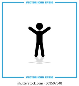 Man hands up icon vector EPS 10, abstract sign flat design,  illustration modern isolated badge for website or app - stock info graphics