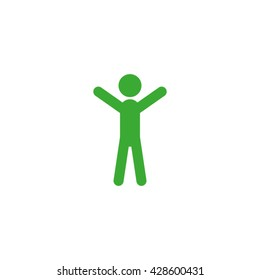 Man hands up icon vector illustration.