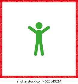 Man hands up icon vector illustration
