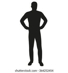 Man with hands on hips, vector silhouette