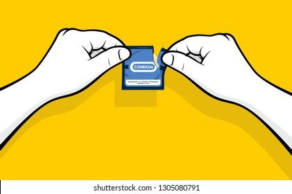 Man hands opening condom