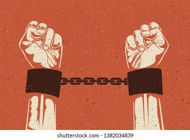 Man hands in strained steel handcuffs. Imprisoned hands in chains. Prisoners hands. Vintage styled vector illustration.
