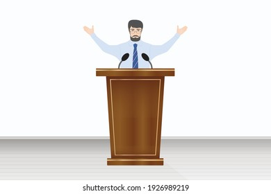 Man with hands up talking from the rostrum tribune, vector illustration